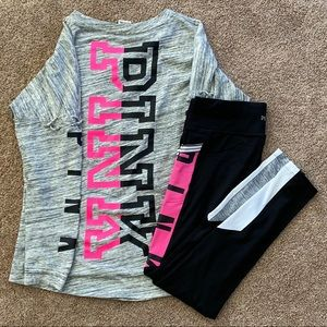 Pink Victoria's Secret M Leggings and Sm Shirt